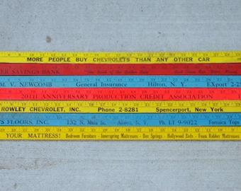 Vintage Colorful Yardsticks Wood Advertising for Crafts Reuse or Repurpose Set of 7