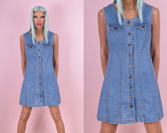 90s Button Down Denim Dress
