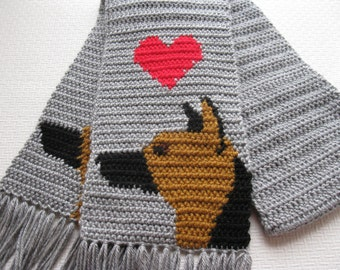 German Shepherd Scarf. Gray crochet scarf with shepherd dogs and red hearts.  Black and tan GSD