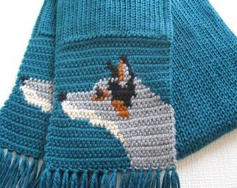 Australian Cattle Dog. Teal crochet scarf with blue heeler dogs. Knit dog scarf