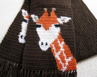 Giraffe Scarf. Coffee brown, crochet scarf with giraffes. Knit animal print scarf. African animal. Knitted giraffe scarves