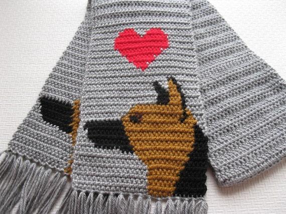 german shepherd scarf gray crochet scarf with by hooknsaw