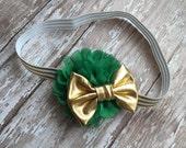St. Patricks Day Headband Infant/Toddler Headband- Green and Gold Infant/Toddler Headband--Photo Prop- Photography Prop- Newborn