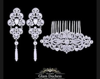 Bridal earrings, Bridal comb, Bridal jewelry set, Wedding jewelry set, zircon crystal earrings, Crystal comb, Vintage inspired earrings comb