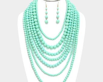 Bridal jewelry set, long pearl necklace, Wedding jewelry, Mint pearl necklace, bridal necklace, pearl jewelry, bridal earrings, Mint jewelry