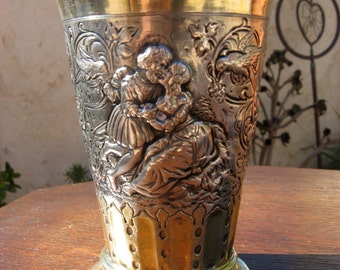 19th Century Sterling Silver and Gold Wash German Beaker