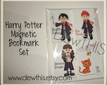 Harry Potter Magnetic Bookmark Set- Harry, Ron, Hermione, Hedwig, Scabbers, Crookshanks, non-food, party favor, stocking stuffer