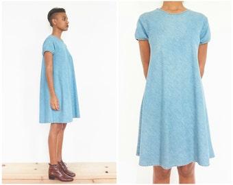 90s Cap Sleeve Denim Sack Dress