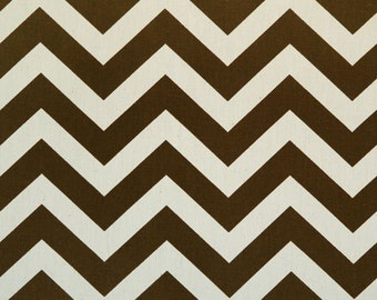 Pair of Village Brown and Natural Zig Zag Chevron Curtains 50 x 63 84 96 108 120 inch Designer Custom Drapes
