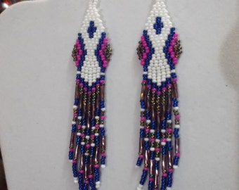 SALE Native American Style Beaded Hour Glass Earrings White Blue, Peacock, Purple Southwestern Brick Stitch, Peyote GREAT Gift Ready to Ship