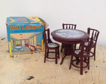 Vintage plastic dollhouse table and chair set, made in Hong Kong
