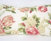 Shabby Chic large Cabbage Rose Pillow Cover/ Pillow cover 12 X 20 / Throw cabbage rose pillow cover/  Shabby Chic rose pillow Cover