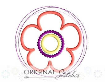 Circle Flower Applique and Machine Embroidery Design File 4x4 5x7 6x10 7x11 8x12