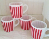 RESERVED FOR RACHEL Vintage Hazel Atlas Red Candy Stripe Mugs, Set of Four,  Midcentury Milk Glass Coffee Cups, Red and White Retro Kitchen