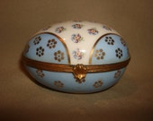 Vintage LIMOGES Porcelain EGG Hinged BOX ~ F.M. Fontanille & Marraud Trinket Hand Painted Floral