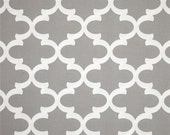 "Two Custom  King  Pillow Covers with 2"" Flange  -Quatrefoil Tile - Premier Prints Indoor/Outdoor Fynn Grey"
