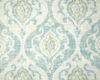 Two 26 x 26 Custom Designer Decorative Pillow Covers Euro Shams- Large Damask - Sage/Aqua/Off White