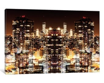 iCanvas New York Reflection - Manhattan Night Gallery Wrapped Canvas Art Print by Philippe Hugonnard