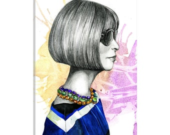 iCanvas Anna Wintour Gallery Wrapped Canvas Art Print by Rongrong DeVoe