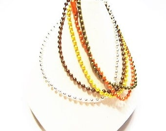 Autumn 5 Pack Ball Chains - 27.5 Inch,  Mixed Colors, Ball Chain, Easy Pendant Add on Ball End Closure, Fall Colors plus Bright Silver