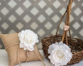 White Rose Twig round personalized wedding large rustic flower girl basket and ring bearer pillow. Customize with flower and initials