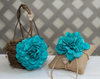Rustic twig flower girl basket with turquoise flower and burlap ring bearer pillow personalized with bride and groom initials more flowers