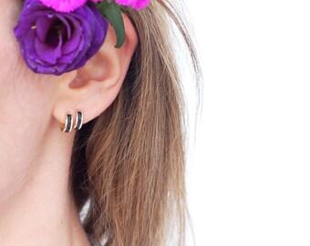 14K Gold Hoop Earrings - Small Enamel Hoop Gold Earrings - Hand Crafted Black Enamel - Classic Gold Hoop Earrings - Small Hoop Earrings