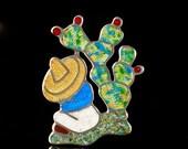 Jeronimo Fuentes vintage Mexican silver and enamel Pin Brooch sterling Margot de Taxco siesta man design