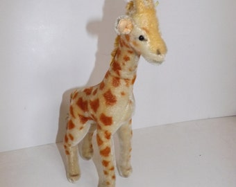 Vintage 1950s mohair giraffe animal soft toy with button and part of yellow tag 34cm tall