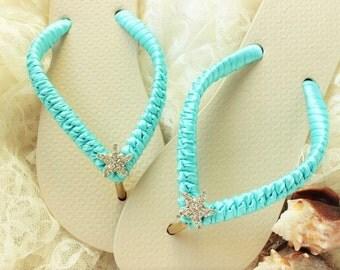 Aqua Bridal Flip Flops, Aqua Blue Beach Wedding Shoes, Blue Wedding Flip Flops, Bridal Sandals