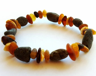 NATURAL BALTIC AMBER Raw Beads Adult Bracelet