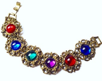 Vintage Antique Bracelet with Colorful Lucite Cabochons Retro Mad Men Groovy Party Jewelry