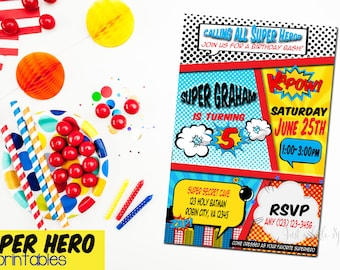 Super Hero Invitation, Super Hero Invite, Super Hero printables, Super Hero birthday, Super Hero theme party