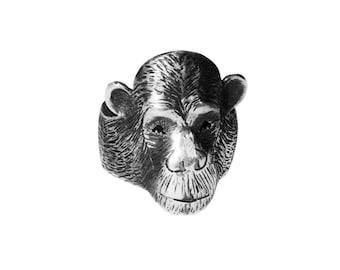 Chimpanzee ring / Sterling silver / Patina oxidized