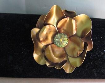 Vintage Enamel 3D Flower Brooch Pin with Watermelon Rivoli Rhinestone Center - Yellow Green Floral pin