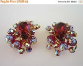 40% OFF Beau Jewels Wine Pink AB Rhinestone Earrings Clip on