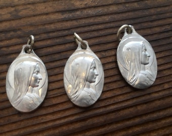 3pcs Vintage Lourdes Small Aluminum Medals French Souvenir France Karo Adolph Penin