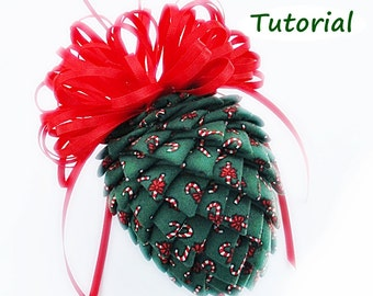 Tutorial:  How to Make Fabric and Ribbon Pinecone Ornaments, PDF File, Christmas Ornaments, Stocking Stuffers, Instant Download