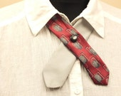 Unisex Bowtie, Gray Burgundy Neckwear, Textile necklace, Collar Upcycled.