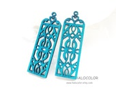 Dyeing Series - 20x 61 mm Variety of Colors Filigree Ethnic Wood Dangle/ Wooden Charm/Pendant NM21