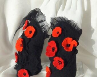 "Felted wrist wrap "" Floral red black "" Hand Warmers  cuffs wristlet bracelet merino wool textile cuff  arm warmers"