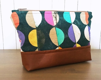 Faux Leather Zipper Pouch - Geometric Modern Make Up Bag - Fabric Clutch - Story Fabrics - Unique Gift