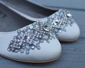 SALE - size 8 Ivory Downton Abbey Bridal Ballet Flat