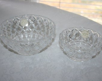 Vintage Lenox Crystal Set of Two One Large and One Small Bowls Diamond Pattern Full Lead Crystal