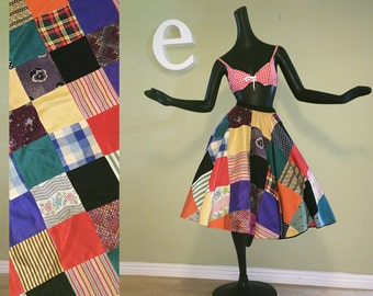 "Vintage 1950s Circle Skirt Rockabilly Hillbilly Swing Dance PinUp Patchwork Quilt Rayon 1930s - 1950s Fabric Plaid Multi Handmade 26"" Waist"