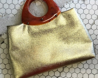 Good as Gold Lame and Lucite Vintage Handbag