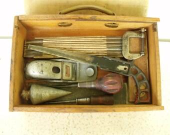 8 Vintage Tools Set in Wood Box Square Planer Plumb Bob Clamp Saw Rule Driver