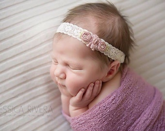 Vintage Rose flowers and lace headband for newborns to adults perfect for photoshoots