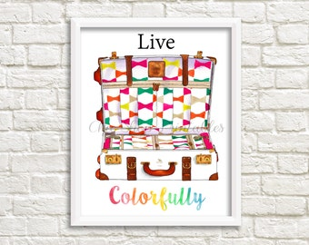 Live Colorfully, Kate Spade Quote, Kate Spade Print, Digital Kate Spade suitcase, Bowties, Bowtie Kate Spade Suitcase, Instant download