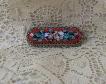 Vintage Enamel Brooch Red Floral Flowers Rostov Finift Filigree Filagree